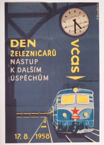 Advertising Poster, Railwaymen's Day, Jaroslav Veverka, 50s Artwork