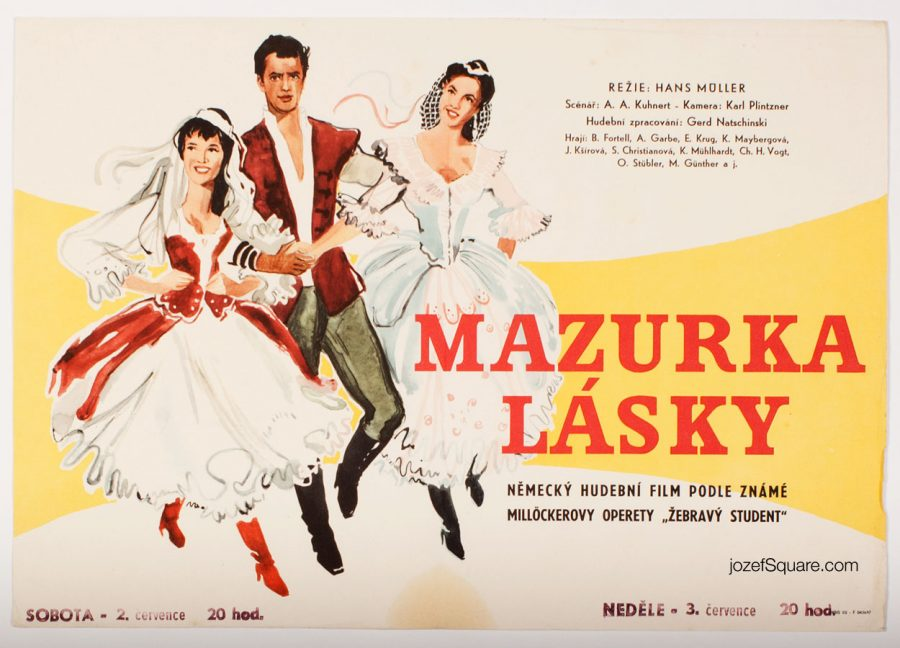Illustrated Movie Poster, Mazurka der Liebe, 50s Cinema Art