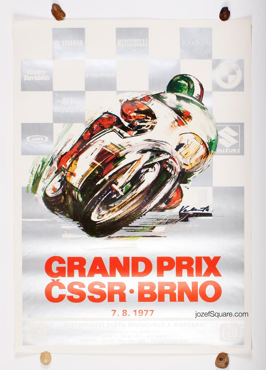 Racing Poster, Grand Prix Brno 1977, Vladimir Valenta