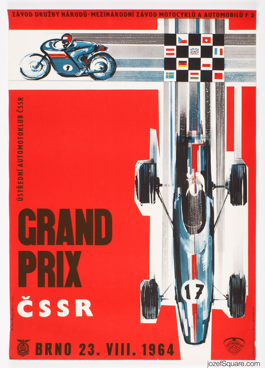 Racing Poster, Grand Prix Brno, International Motorcycle and F2 Race, Vladimir Valenta