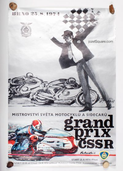 Racing Poster, Grand Prix Brno 1974, World Championship of Motorcycles and Sidecars