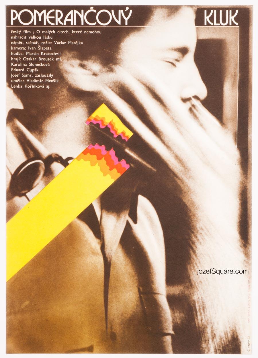 Movie Poster, Orange Boy, Zdenek Ziegler, 70s Cinema Art