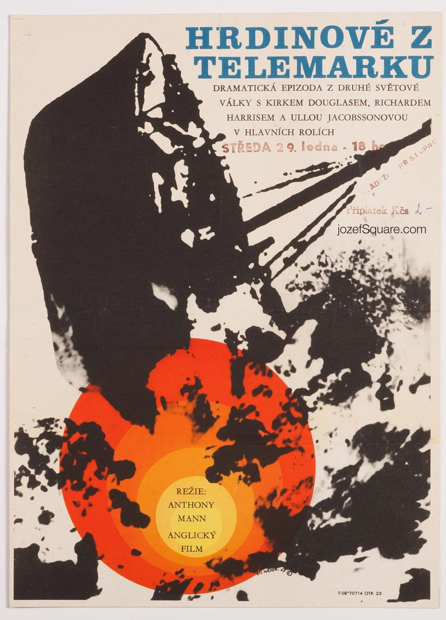 Movie Poster, The Heroes of Telemark, Eduard Hajek, 60s Cinema Art