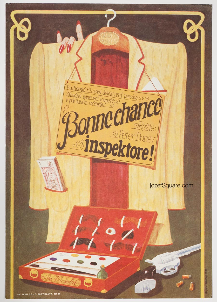Movie Poster, Bonne Chance, Inspector!, Jan Meisner, 80s Cinema Art