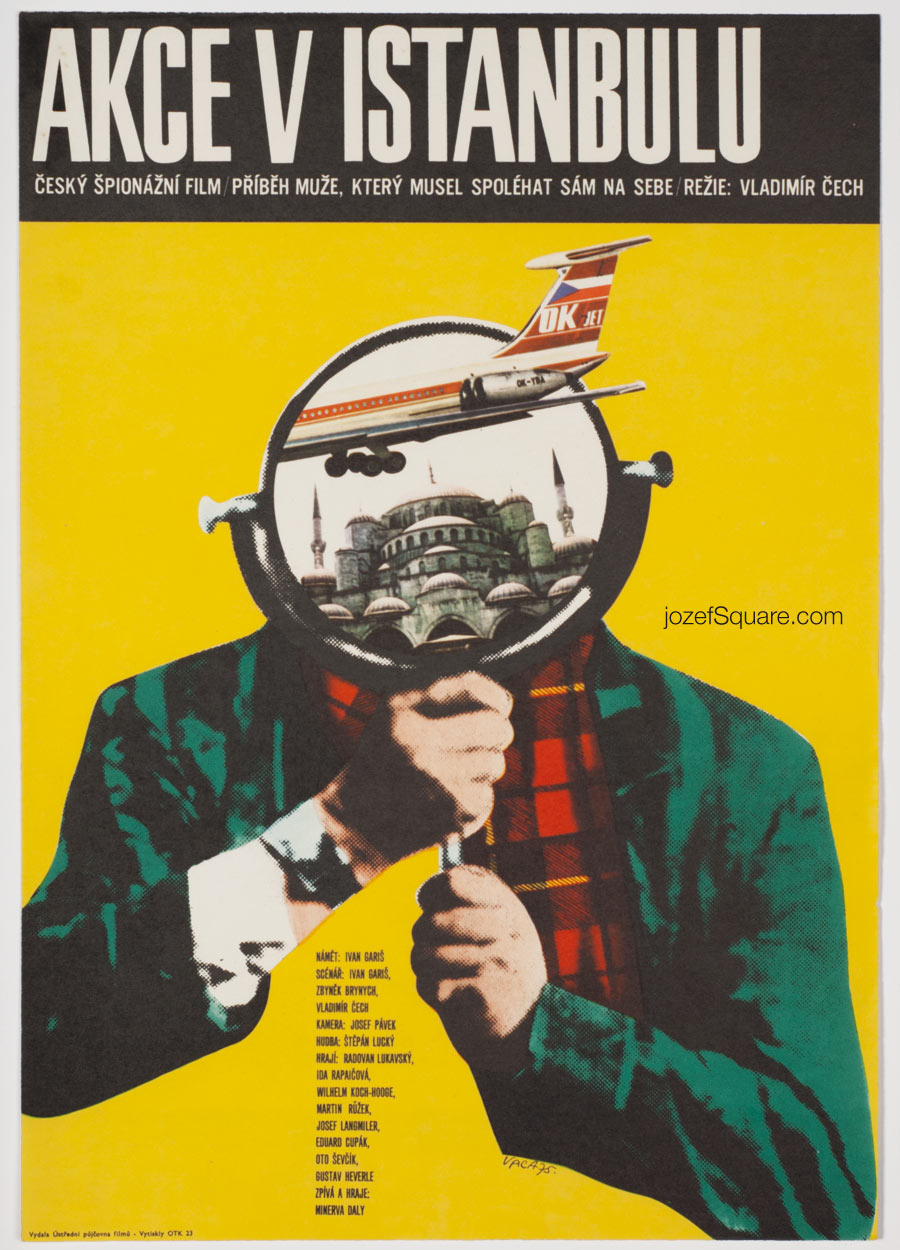 Movie Poster, Operation in Istanbul, Karel Vaca, 70s Cinema Art