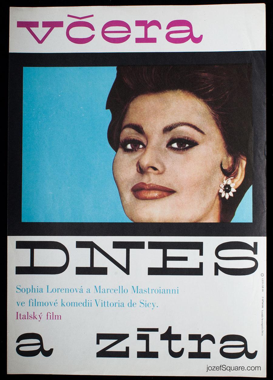 Movie Poster, Yesterday, Today and Tomorrow, Milan Grygar, 60s Cinema Art