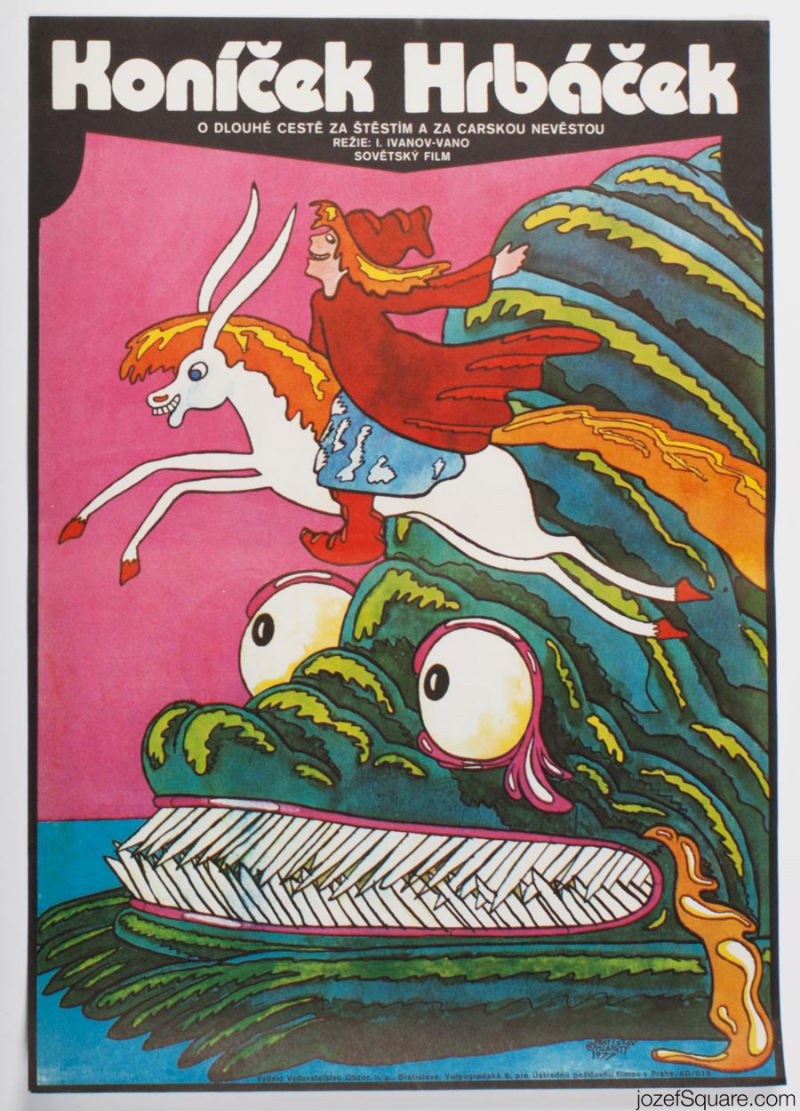 Children's Movie Poster, Humpbacked Horse, Vratislav Hlavaty, 70s Cinema Art