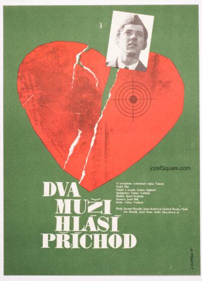 Movie Poster, Two Men Report their Arrival, Sona Vorlickova, 70s Cinema Art