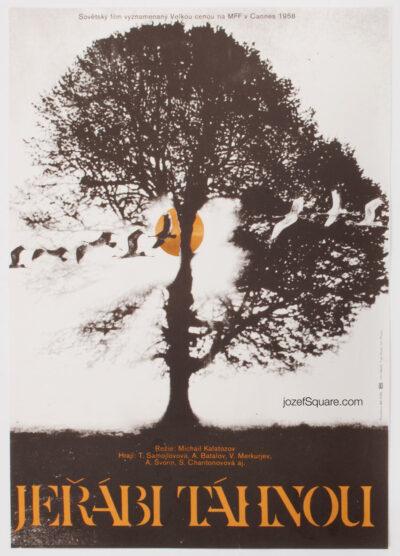 Movie Poster, The Cranes Are Flying, Vratislav Sevcik, 70s Cinema Art