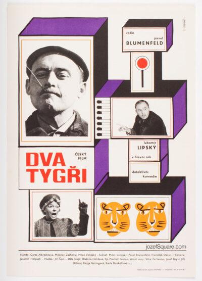 Movie Poster, Two Tigers, Jaroslava Svabova, 60s Vintage Cinema Art