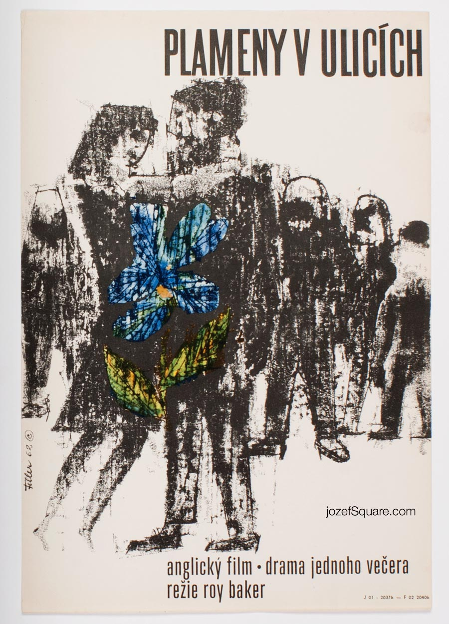 Abstract Movie Poster, Flame in the Streets, Ludvik Feller, 60s Cinema Art