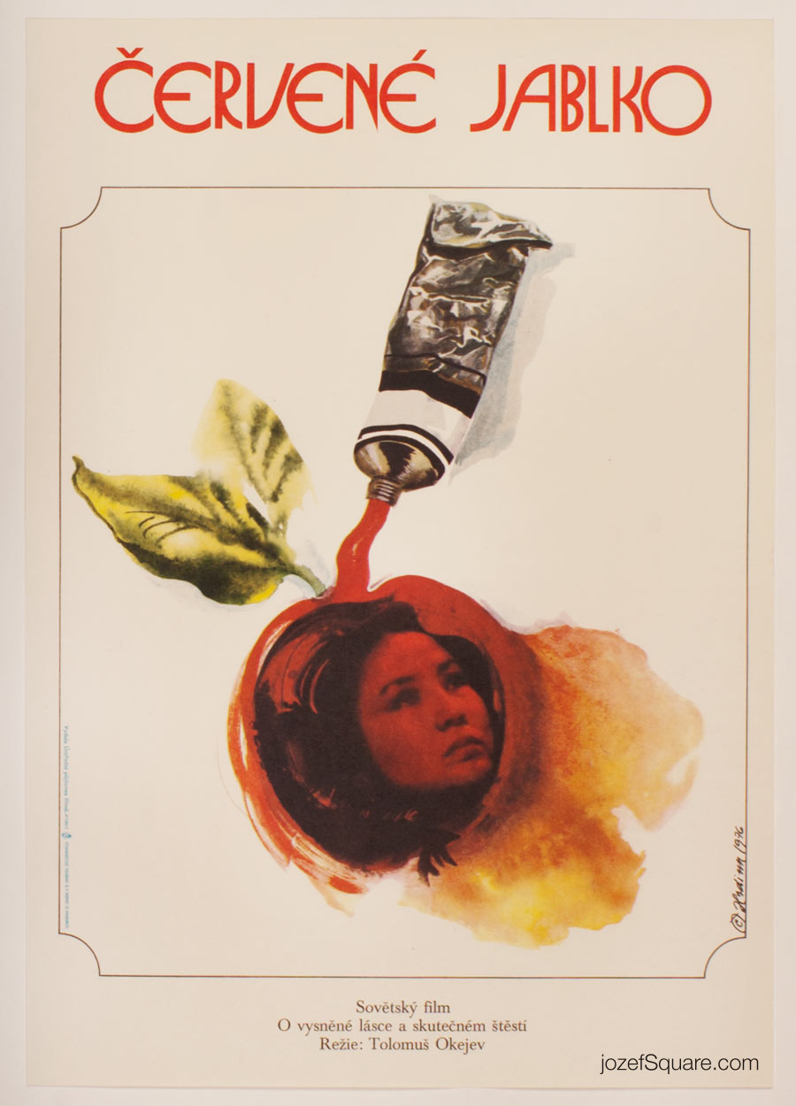 Movie Poster, Red Apple, Miroslav Hrdina, 70s Cinema Art