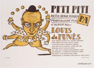 Illustrated Movie Poster, Louis de Funes, 70s Cinema Art