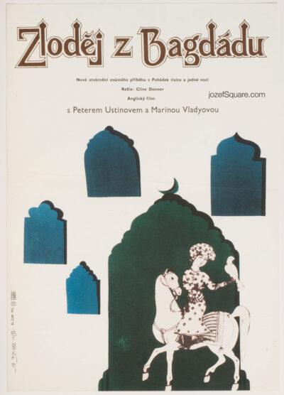 Movie Poster, Thief of Baghdad, Vratislav Sevcik, 80s Cinema Art