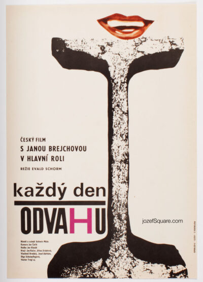 Movie Poster, Courage for Every Day, Zdenek Palcr, Czechoslovak New Wave