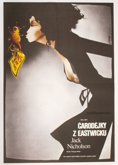 Movie Poster, The Witches of Eastwick, Jack Nicholson, Cher, 80s Cinema Art