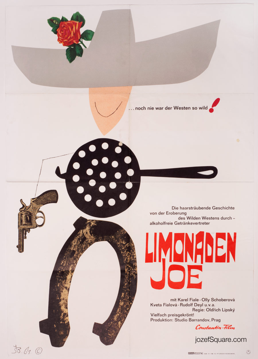 Western Movie Poster, Lemonade Joe, Bohumil Stepan, 60s Cinema Art