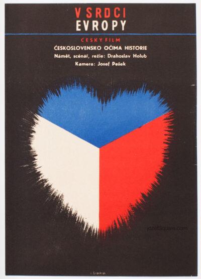 Minimalist Movie Poster, In the Heart of Europe, Bretislav Sebek, 60s Cinema Art