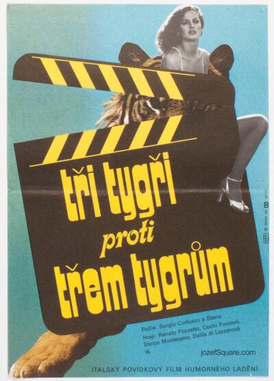 Movie Poster, Three Tigers Against Three Tigers, Petr Chalabala, 70s Cinema Art