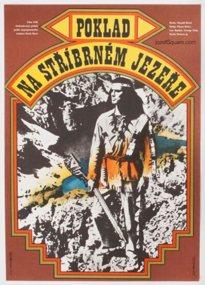 Western Movie Poster, Treasure of the Silver Lake, Jan Tomanek, 70s Cinema Art